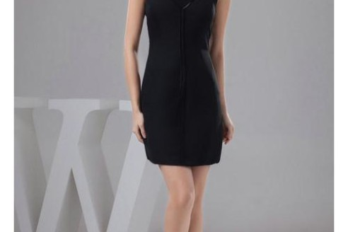black cocktail dress with pockets
