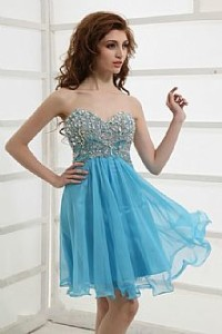 blue party dress with sleeves