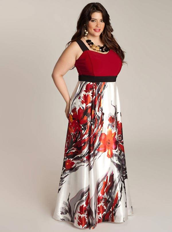 White maxi dress for plus size women
