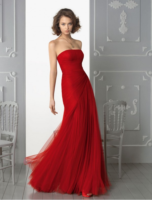 Red evening dress knee length - Style Jeans