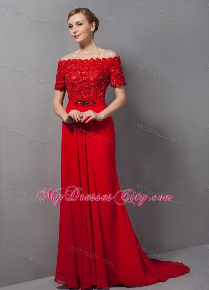Lastest Red Evening Dress Knee Length  Style Jeans