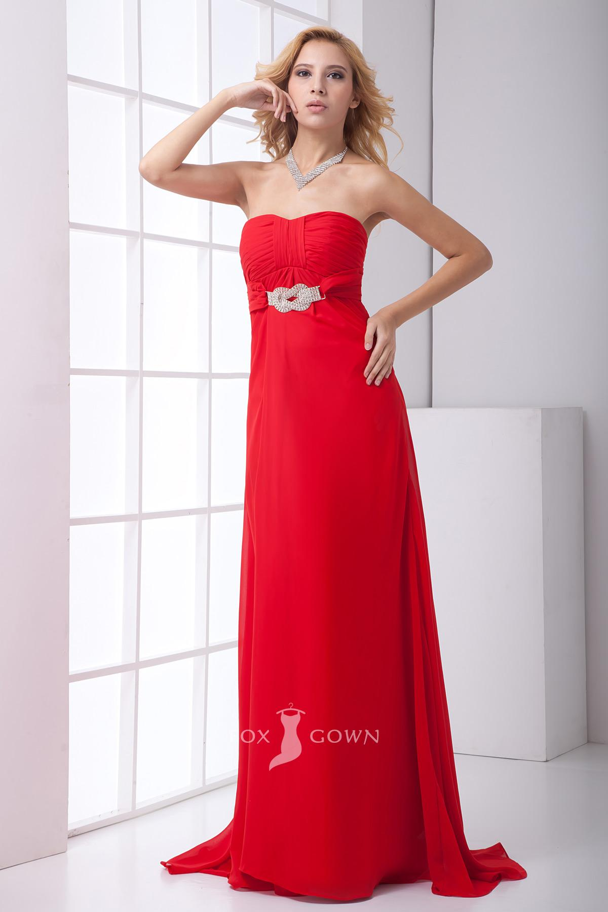Red evening dress knee length style jeans