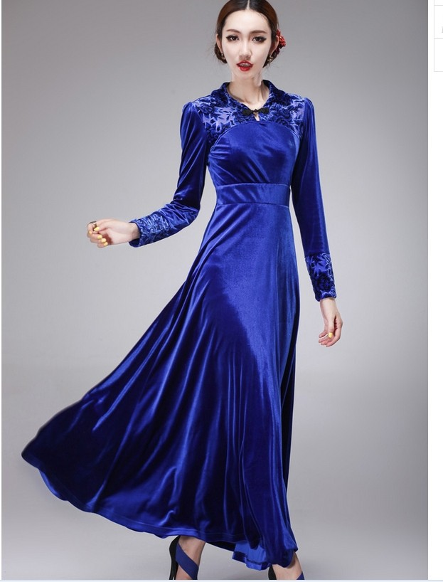 exceptional long velvet dress outfit 14