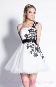 white cocktail dress with black lace