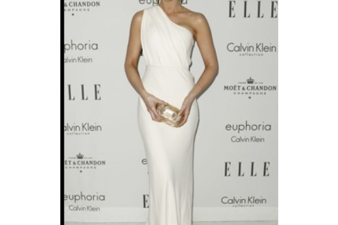 white evening dress with sleeves