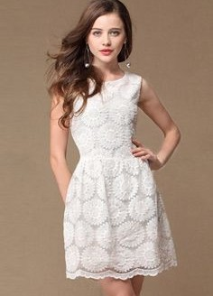 White lace summer dress with sleeves - Style Jeans