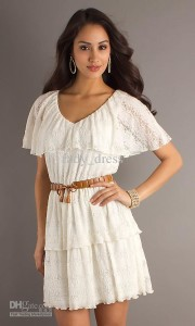 white lace summer dress with sleeves