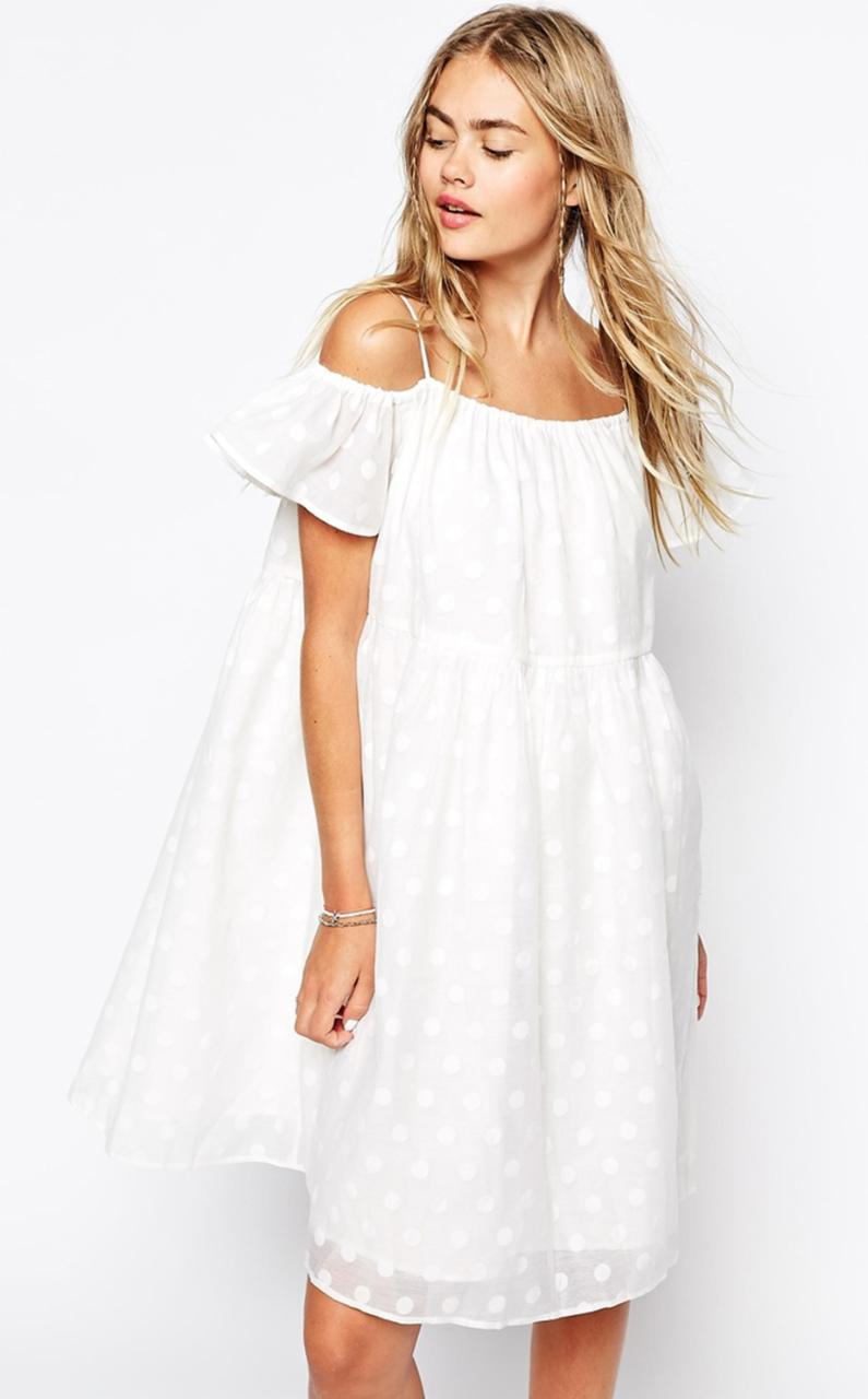 White Summer Dress Long Style Jeans