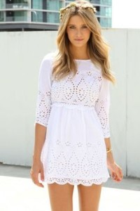 white summer dress with sleeves