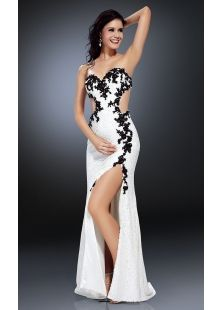 Strapless black or white dresses