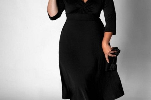 black dresses plus size with sleeves