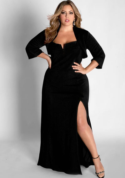 Black evening dresses plus size