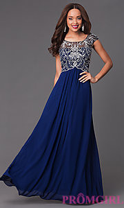 blue prom dress open back
