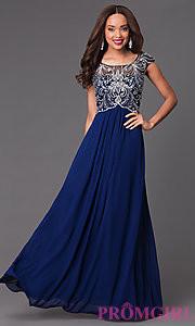 blue prom dress open back