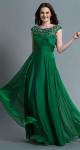 green prom dress long