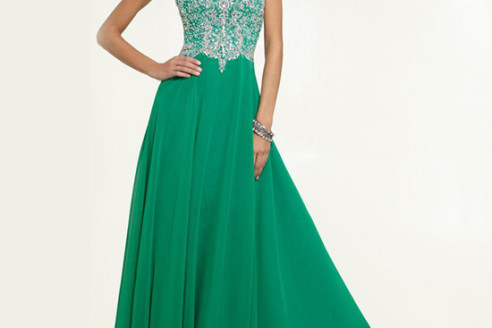 green prom dress short