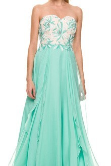 green prom dress two piece