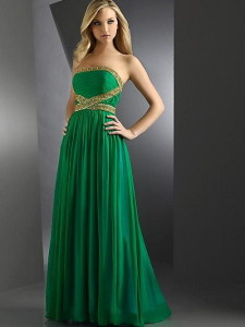green prom dress with straps
