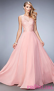 pink prom dress with black lace