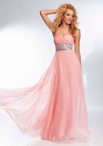 pink prom dress with flowers