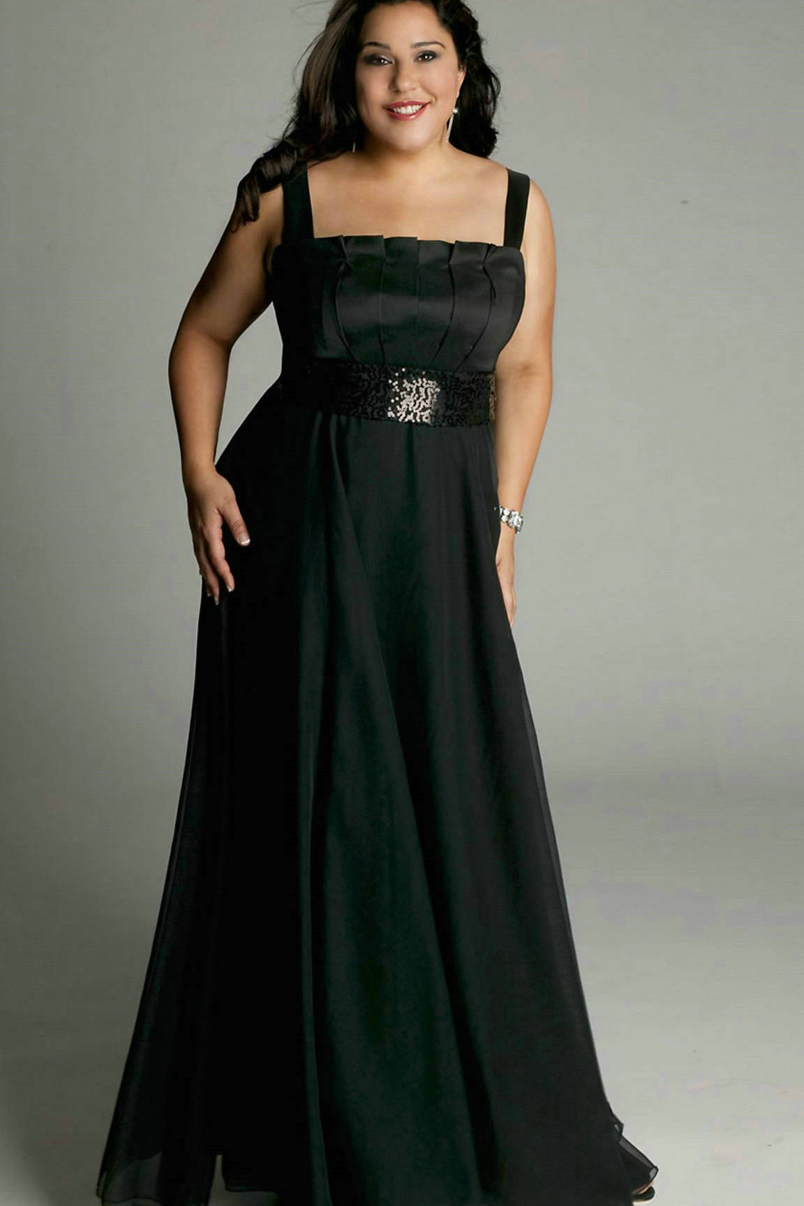 Black long dress for plus size