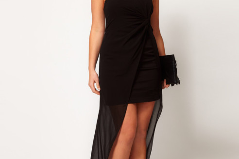 plus size high low dresses black
