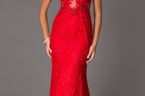 red evening dresses long