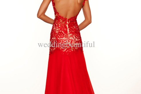 red evening dresses with sleeves