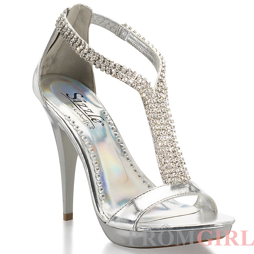 Silver High Heels Shoes For Prom