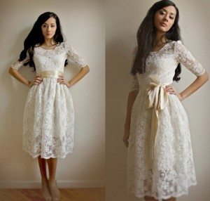 Short Vintage Wedding Dress With Lace