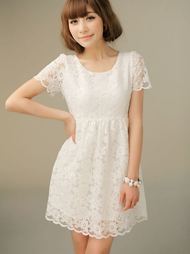 White Lace Summer Dress With Sleeves Style Jeans