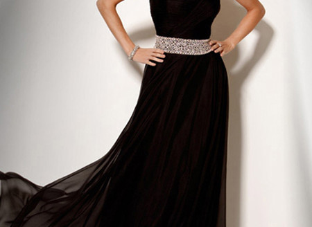 black evening gown with train